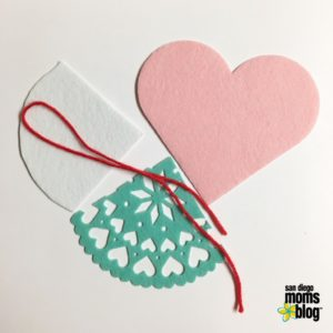 Supplies needed to make your heart treat bag