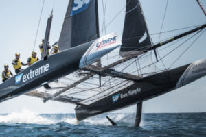 The Extreme Sailing Series. Act 3. Madeira, Portugal. The GC32's first race of day 3.  Credit - Mark Lloyd/Lloyd Images