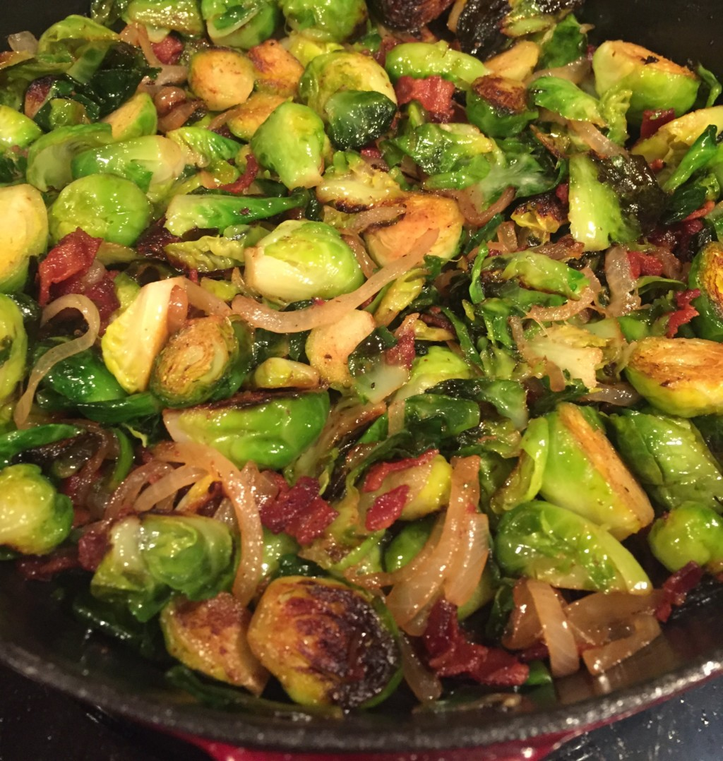 family dinner steak and onions brussels sprouts