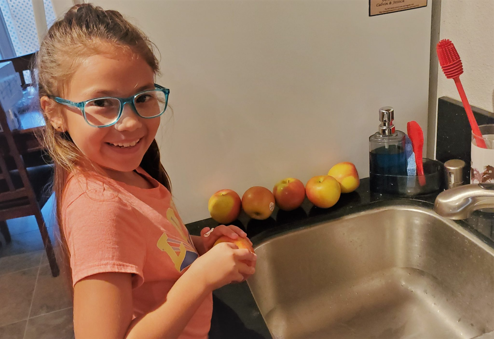 Prepping apples for apple crisp