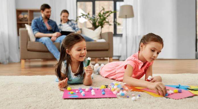 kids coloring on floor