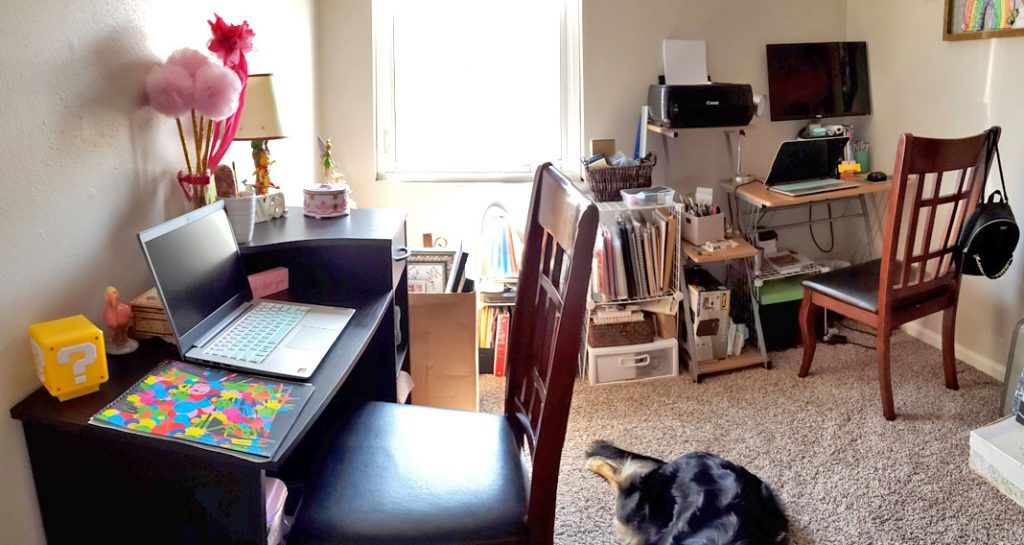 Our home office space for distance learning