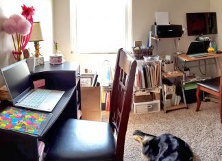 Our home office space for distance learning and working from home