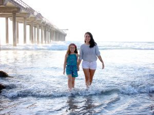 A mom and daughter enjoying one of the many San Diego beaches