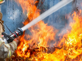 Firefighter Putting Out The Flames
