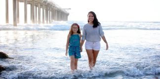 San Diego Mom and daughter enjoying one of the beaches