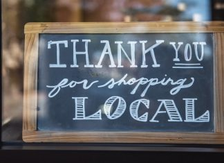 Window sign thanks for shopping local