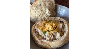 white chicken chili in bread bowl