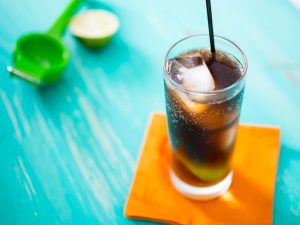 photo of cuba libre homemade cocktails in a glass