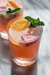 photo of strawberry orange ginger fizz mocktail for our homemade cocktails post