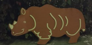 Gingerbread cookie decoration in the shape of a rhino