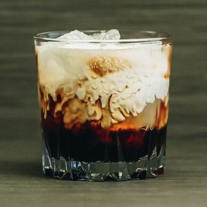 photo of white russian homemade cocktails in a glass