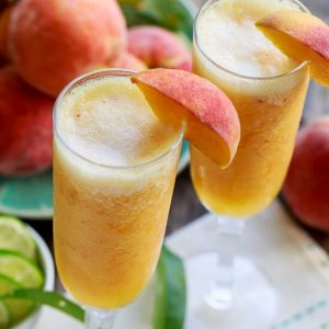 photo of frozen peach bellini mocktails for our homemade cocktails post