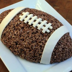 football shaped cocoa Krispie