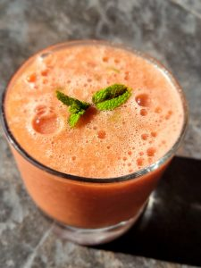 Fresh Watermelon Juice with Cucumber, Lime, and Mint