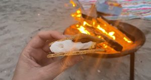 A smore with a bonfire in the background