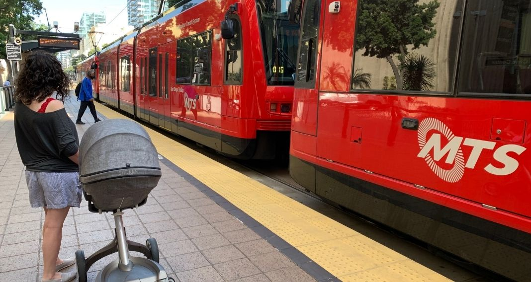 riding transit with kids in strollers